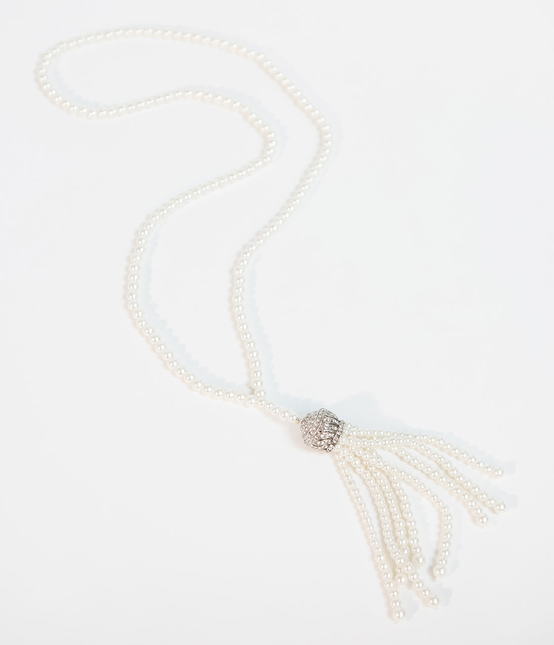 1920s Gatsby Jewelry- Flapper Earrings, Necklaces, Bracelets Unique Vintage Deco Style Ivory Pearl  Silver Tassel Necklace $24.00 AT vintagedancer.com