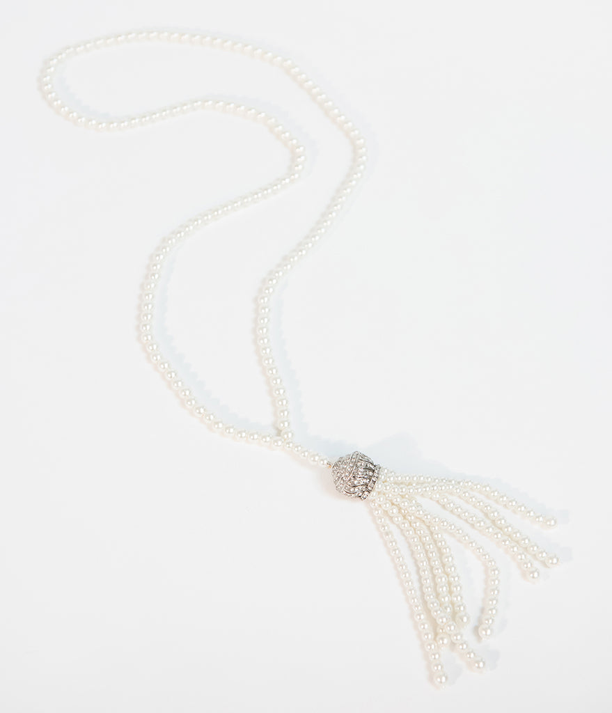 Unique Vintage Deco Style Ivory Pearl & Silver Tassel Necklace