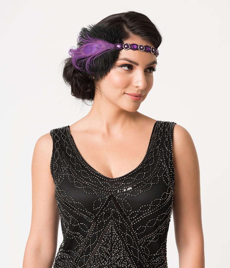 Unique Vintage Purple Beaded Peacock Feather Flapper Headband