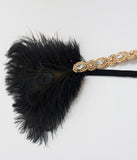 Unique Vintage Gold Beaded & Black Peacock Feather Flapper Headband