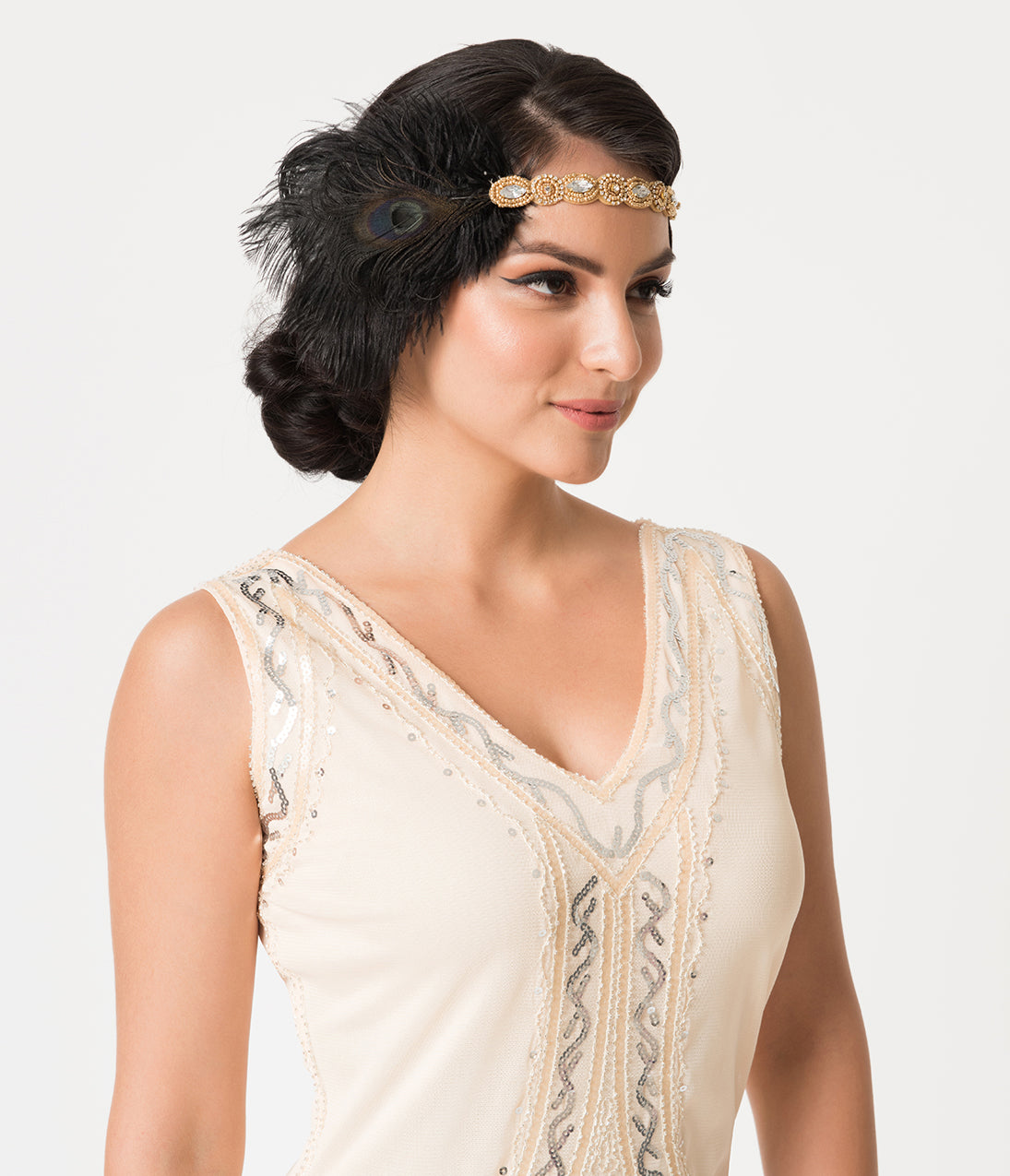 1920s Flapper Headband, Gatsby Headpiece, Wigs Unique Vintage Gold Beaded  Black Peacock Feather Flapper Headband $28.00 AT vintagedancer.com
