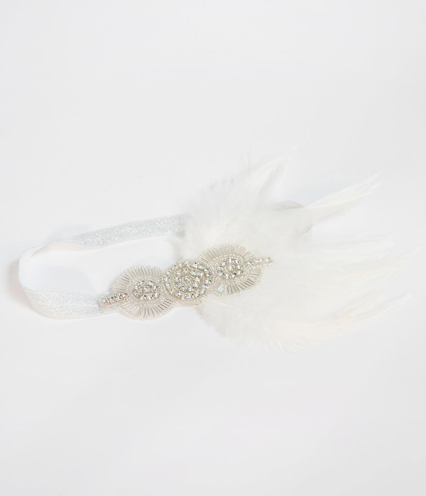 Unique Vintage White & Silver Beaded Feather Flapper Headband