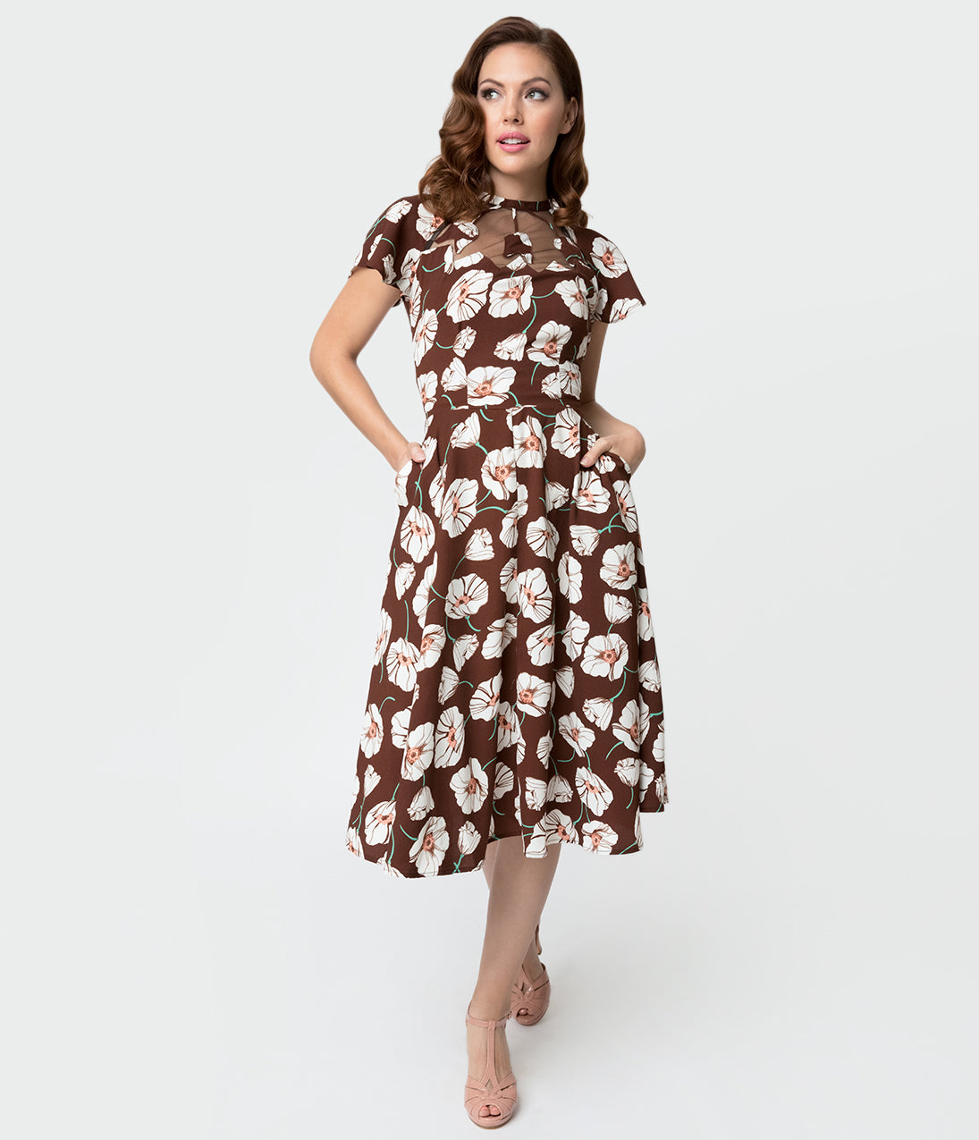 1940s Dresses | 40s Dress, Swing Dress Unique Vintage 1940S Style Brown  White Tulip Print Jessie Swing Dress $88.00 AT vintagedancer.com