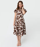 Unique Vintage 1940s Style Brown & White Tulip Print Jessie Swing Dress