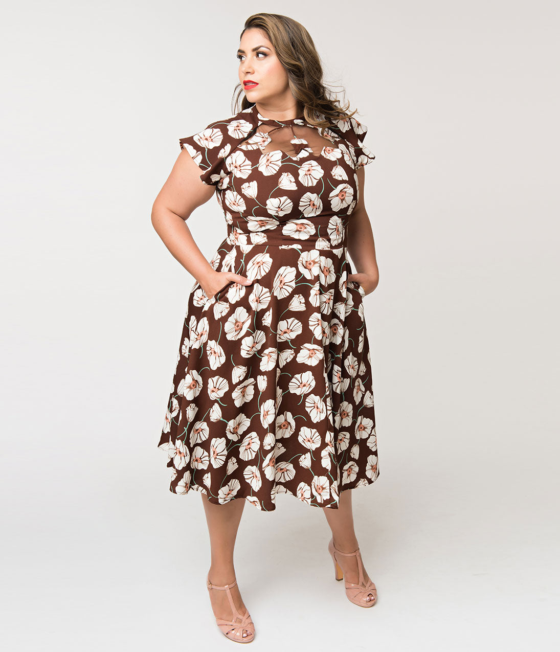 1930s Dresses | 30s Art Deco Dress Unique Vintage Plus Size 1940S Style Brown  White Tulip Print Jessie Swing Dress $88.00 AT vintagedancer.com