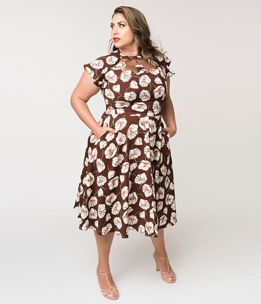 Unique Vintage Plus Size 1940s Style Brown & White Tulip Print Jessie Swing  Dress