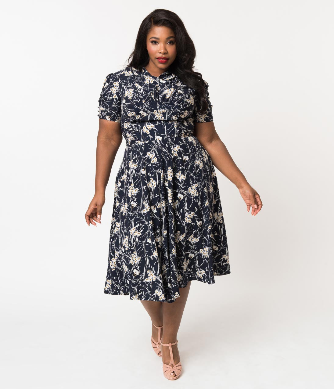 1940s Tea Dresses, Mature, Mrs. Long Sleeve Dresses Unique Vintage Plus Size 1940S Style Navy  White Floral Camilla Midi Dress $56.00 AT vintagedancer.com