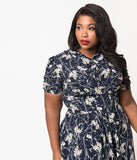 Unique Vintage Plus Size 1940s Style Navy & White Floral Camilla Midi Dress