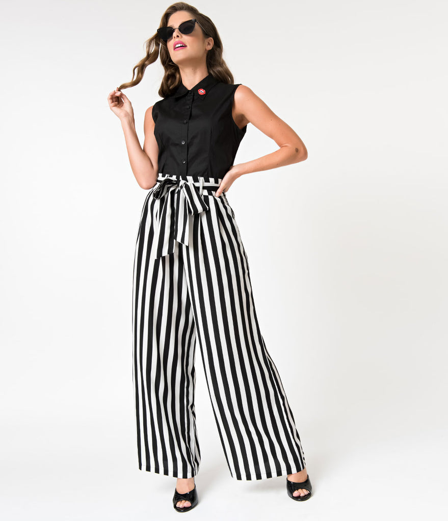 fd44700f Retro Style Black & White Stripe Crepe High Waisted Pants
