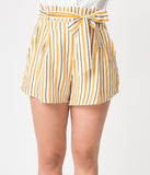 White & Mustard Yellow Striped High Waisted Woven Shorts