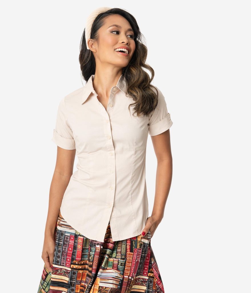 Retro Style Light Tan Short Sleeve Collared Button Up Cotton Blouse