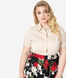 Plus Size Retro Style Light Tan Short Sleeve Collared Button Up Cotton Blouse