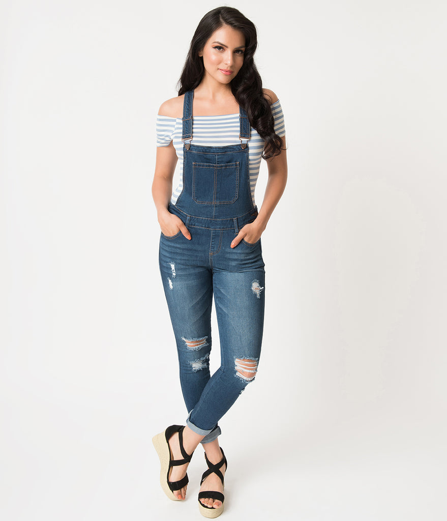 Retro Style Navy Denim Blue Distressed Jean Overalls