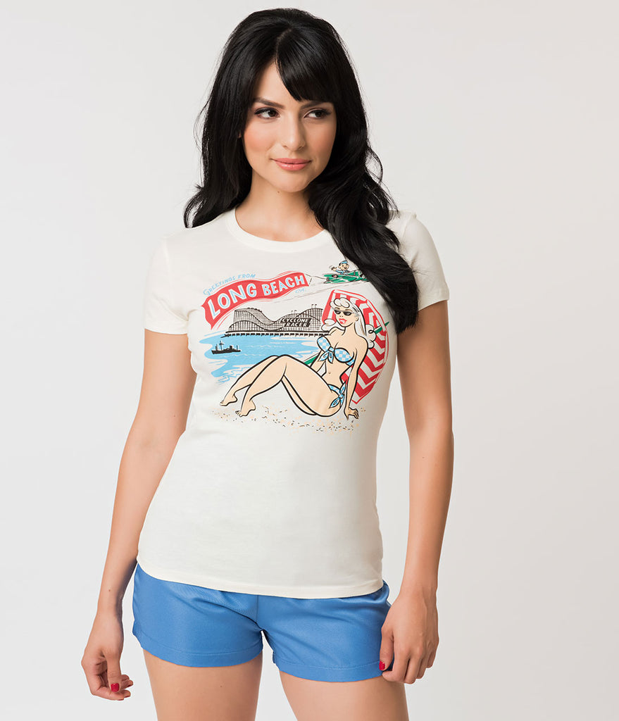 Retro Cream Cotton Long Beach Pike Souvenir Tee