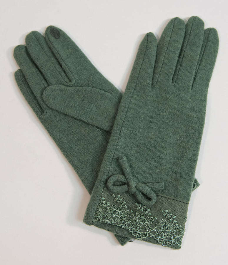Vintage Style Moss Green Lace & Bow Wrist Gloves