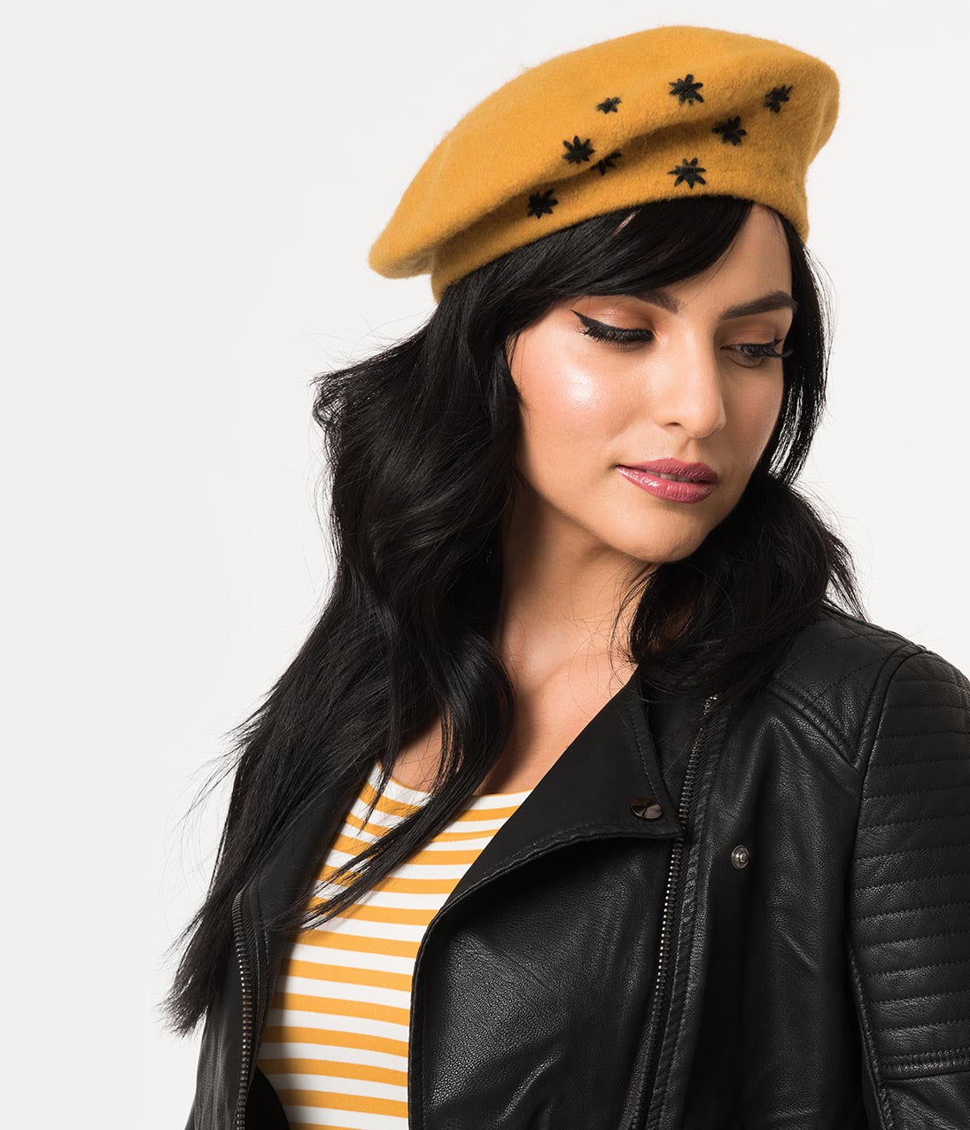 Women's Vintage Hats | Old Fashioned Hats | Retro Hats Vintage Style Mustard Yellow Wool Black Star Embroidered Beret $24.00 AT vintagedancer.com