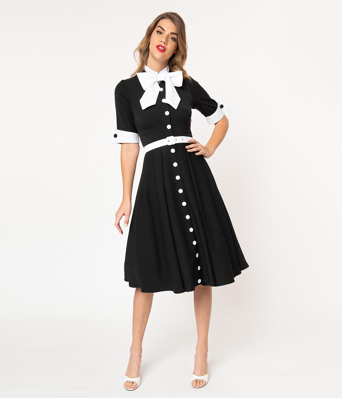 Vintage Tea Dresses, Floral Tea Dresses, Tea Length Dresses Miss Candyfloss 1940S Black  White Button Bow Edelie Tea Dress $138.00 AT vintagedancer.com