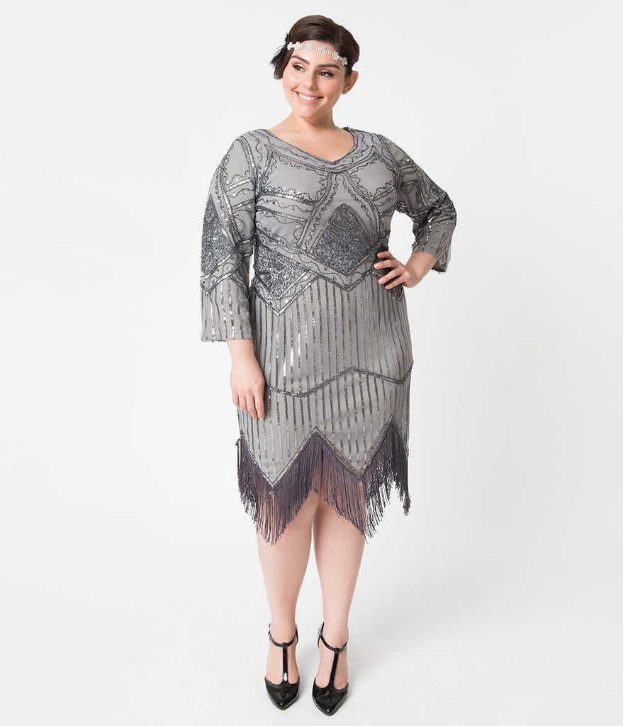 Unique Vintage Plus Size 1920s Dark Grey Beaded Sequin Sleeved Noemie Fringe Flapper Dress