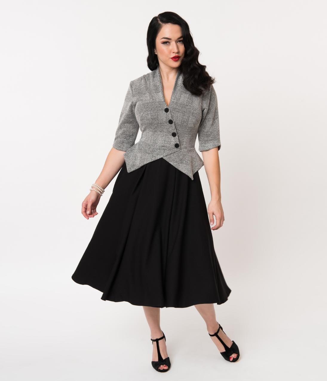 1950s Swing Dresses | 50s Swing Dress Miss Candyfloss 1950S Black  Grey Check Delphine Suit Swing Dress $138.00 AT vintagedancer.com