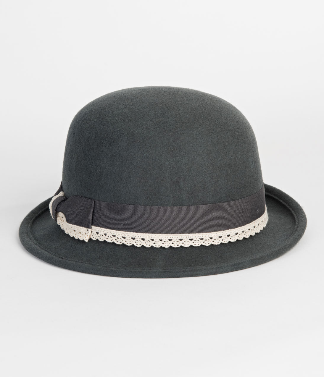 1930s Style Hats | 30s Ladies Hats Grey Wool  Ivory Lace Trim Bowler Hat $34.00 AT vintagedancer.com