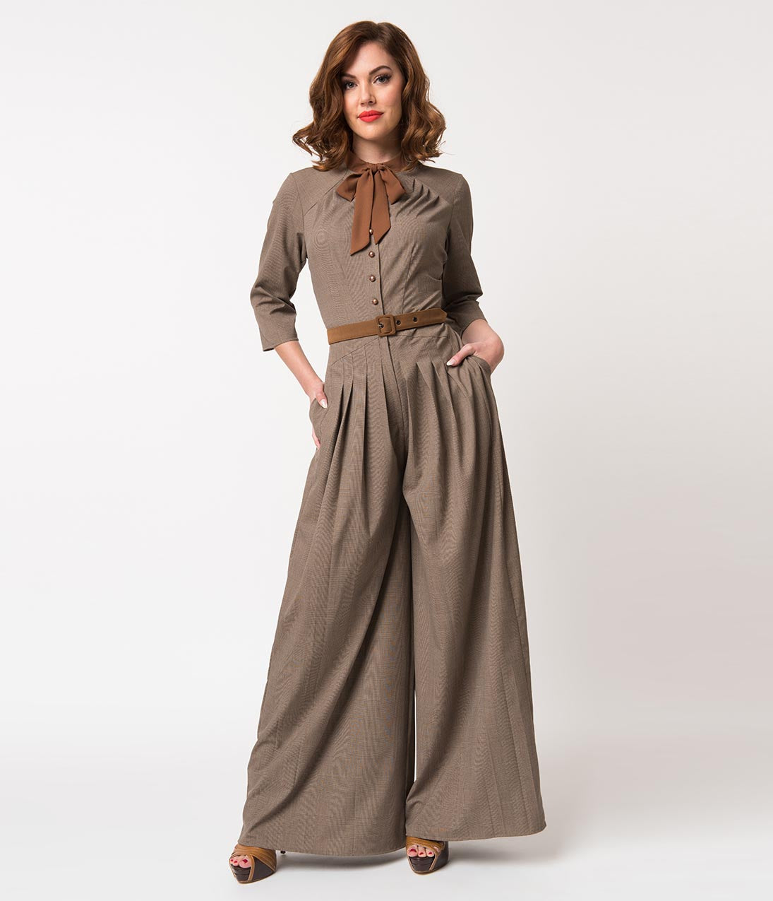 1940s Swing Pants & Sailor Trousers- Wide Leg, High Waist Miss Candyfloss 1940S Brown Glen Check Apolline Wide Leg Jumpsuit $138.00 AT vintagedancer.com