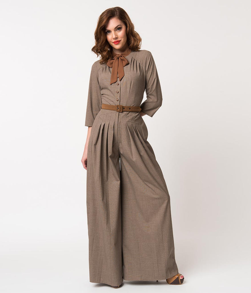Miss Candyfloss 1940s Brown Glen Check Apolline Wide Leg Jumpsuit