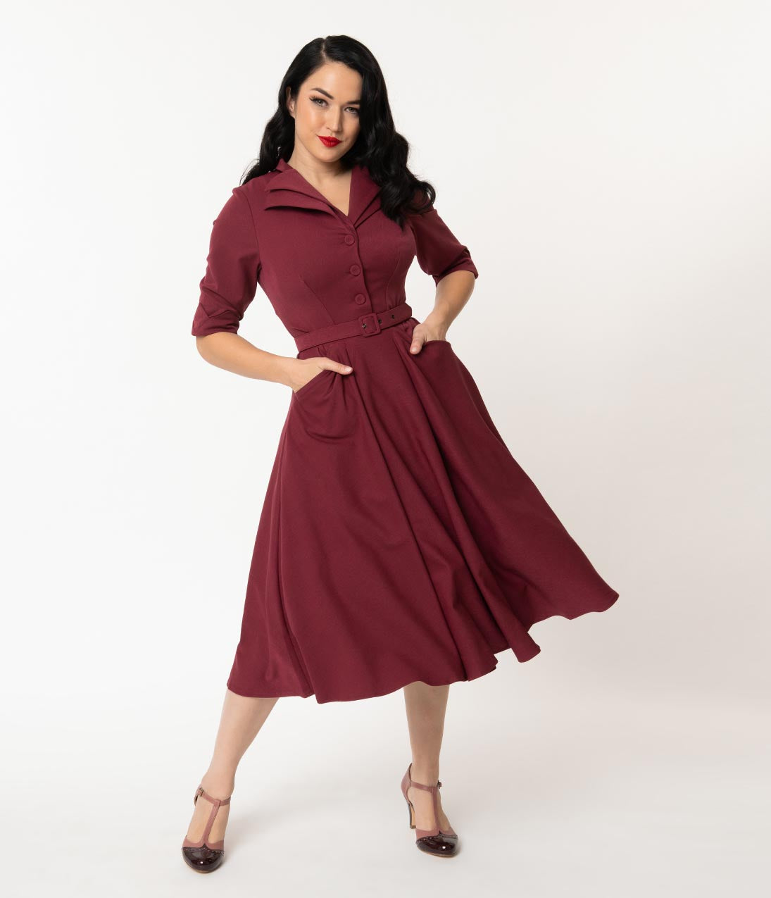 1940s Dresses | 40s Dress, Swing Dress Miss Candyfloss 1940S Wine Sleeved Davignon Swing Dress $138.00 AT vintagedancer.com