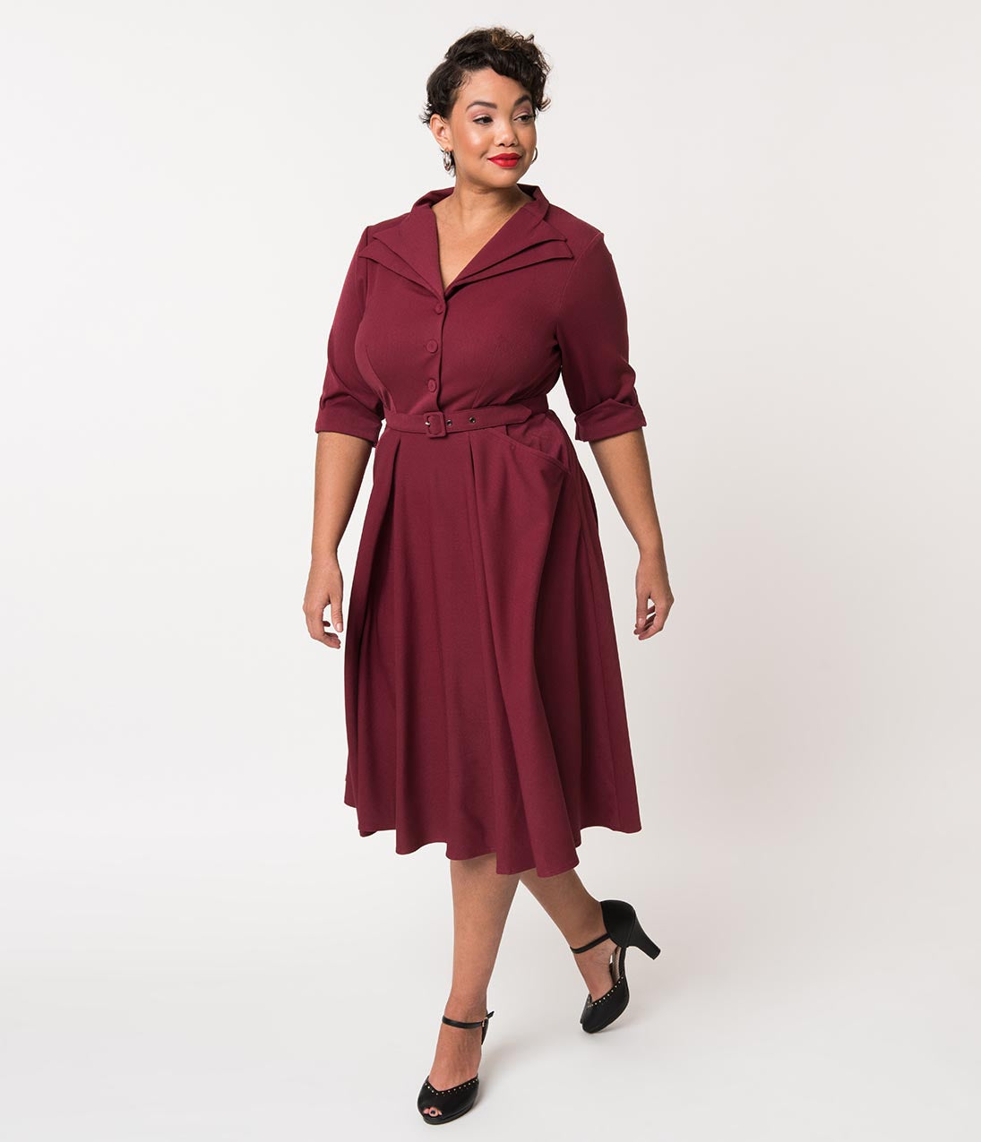 1950s Dresses, 50s Dresses | 1950s Style Dresses Miss Candyfloss Plus Size 1940S Wine Sleeved Davignon Swing Dress $138.00 AT vintagedancer.com