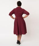 Miss Candyfloss Plus Size 1940s Wine Sleeved Davignon Swing Dress