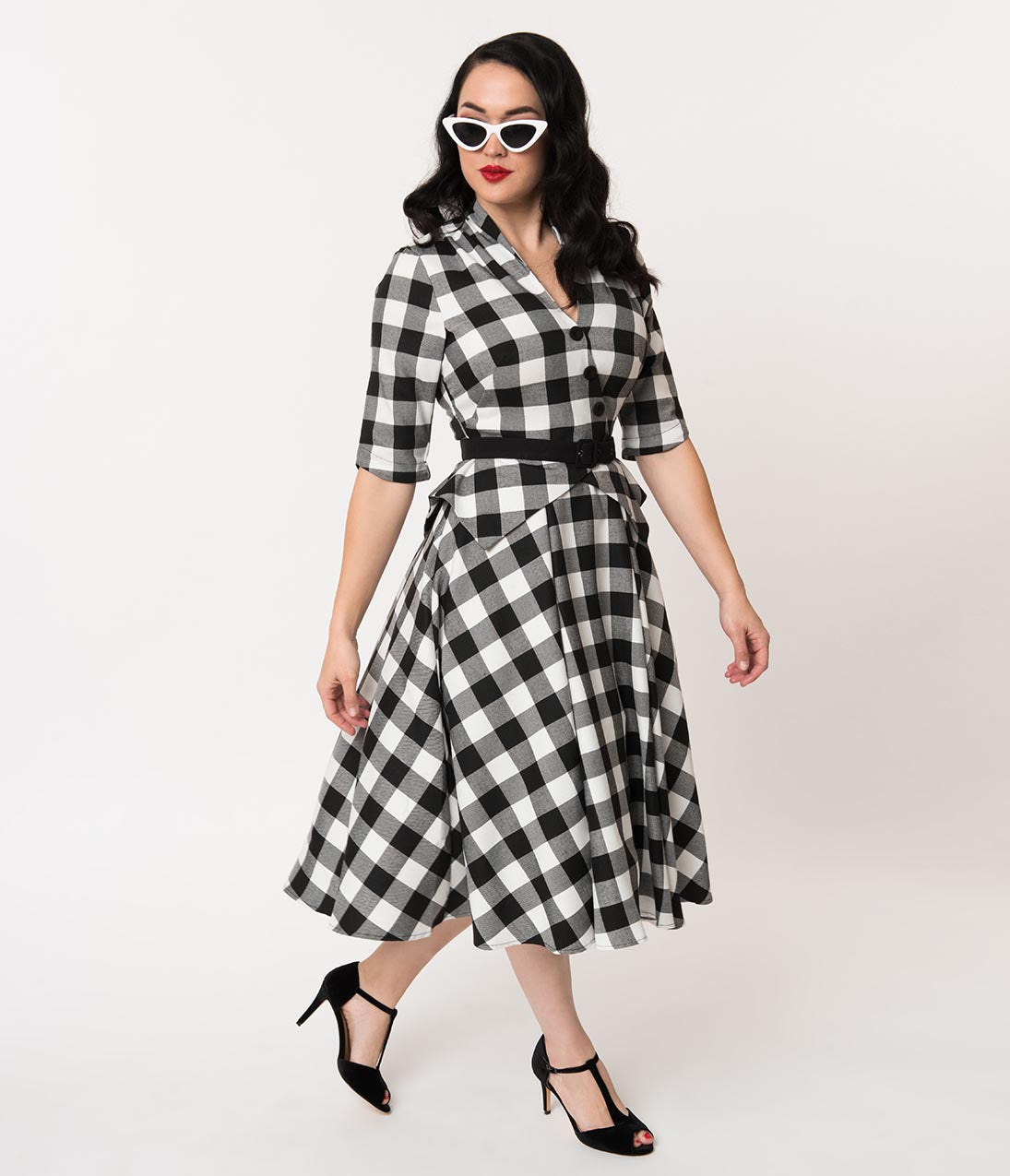 1950s Dresses, 50s Dresses | 1950s Style Dresses Miss Candyfloss 1950S Black  White Buffalo Plaid Chanelle Swing Dress $138.00 AT vintagedancer.com