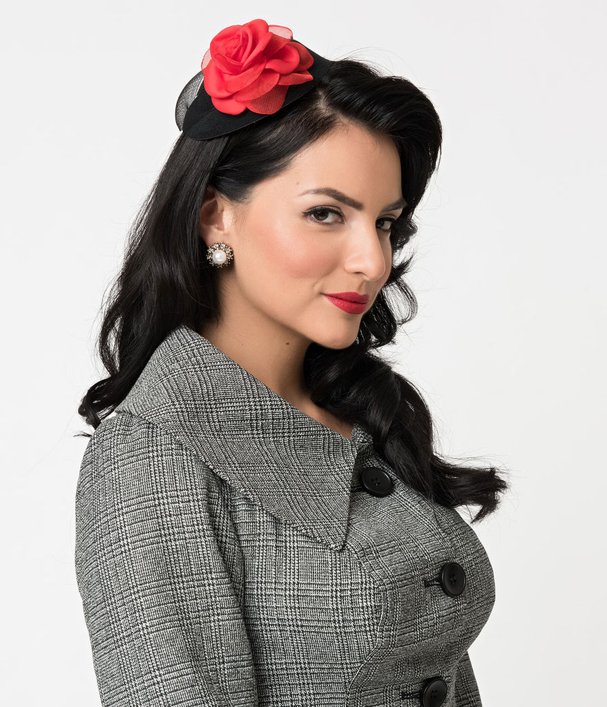 Black & Red Rose Sinamay Fabric Fascinator