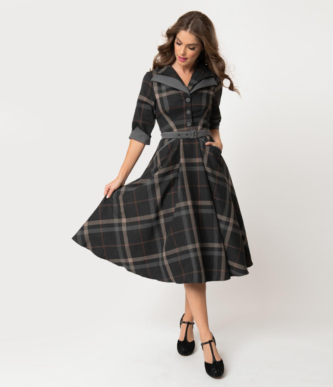 1950s Dresses, 50s Dresses | 1950s Style Dresses Miss Candyfloss 1940S Grey Tartan Sleeved Nour Swing Dress $138.00 AT vintagedancer.com