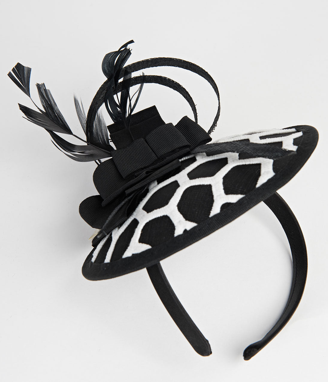 Women's Vintage Hats | Old Fashioned Hats | Retro Hats Black  White Honeycomb Embroidered Sinamay Fascinator $42.00 AT vintagedancer.com