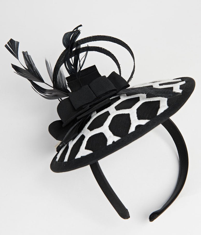Black & White Honeycomb Embroidered Sinamay Fascinator