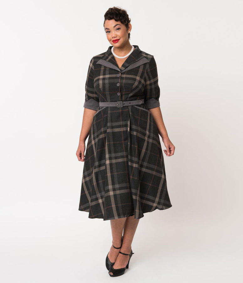 Miss Candyfloss Plus Size 1940s Grey Tartan Sleeved Nour Swing Dress