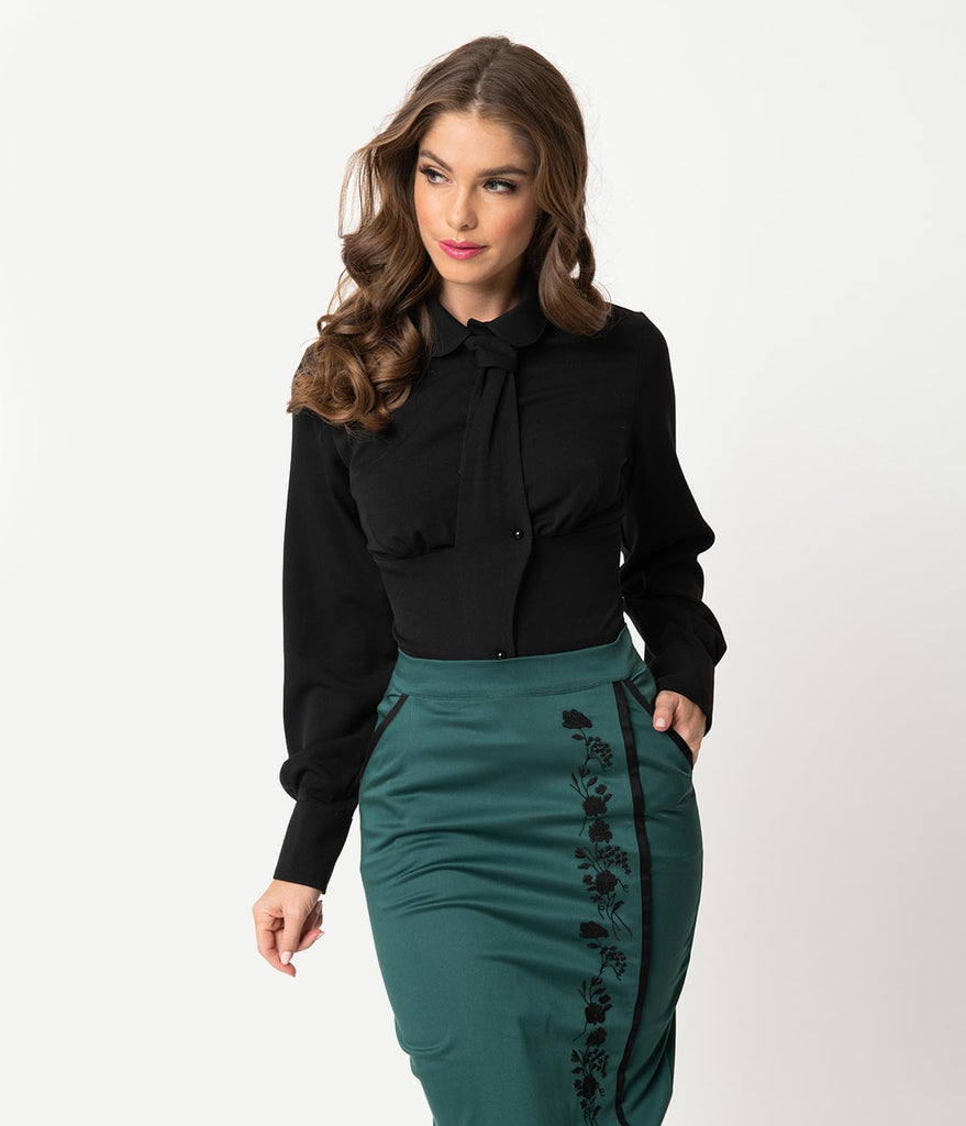Miss Candyfloss Black Neck Tie Long Sleeve Raphaelle Blouse