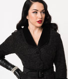 Miss Candyfloss 1940s Black Boucle Peplum Charilyn Wiggle Suit Dress