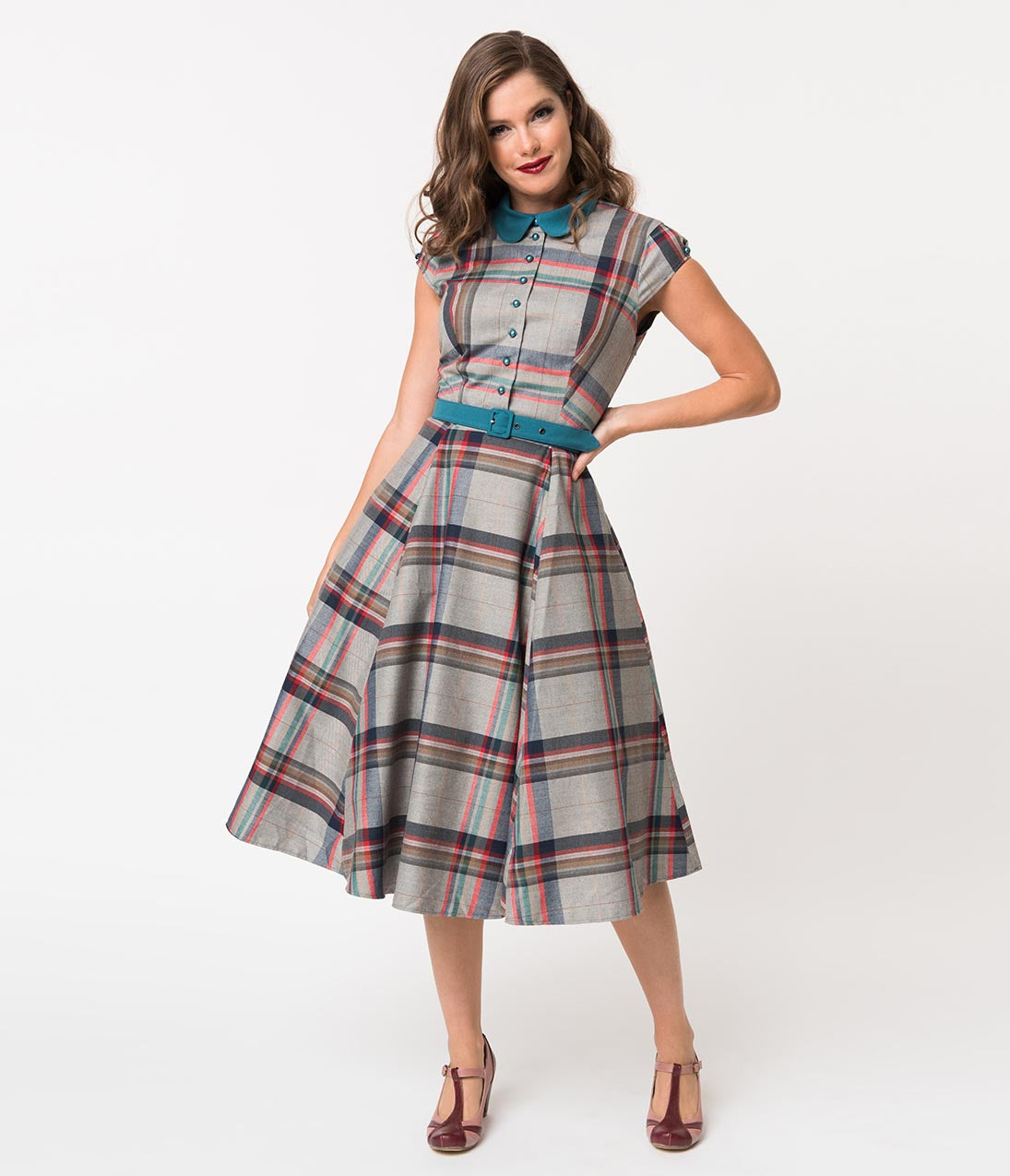 50 Vintage Inspired Clothing Stores Miss Candy Floss 1950S Style Grey Tartan Darla Preppy Swing Dress $138.00 AT vintagedancer.com