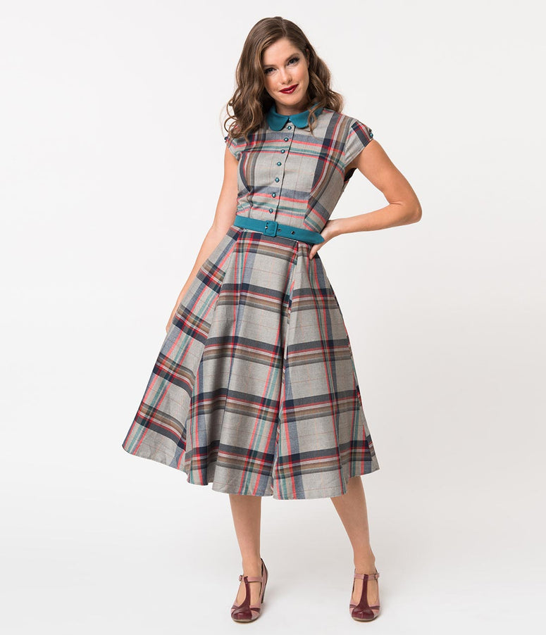 Miss Candy Floss 1950s Style Grey Tartan Darla Preppy Swing Dress