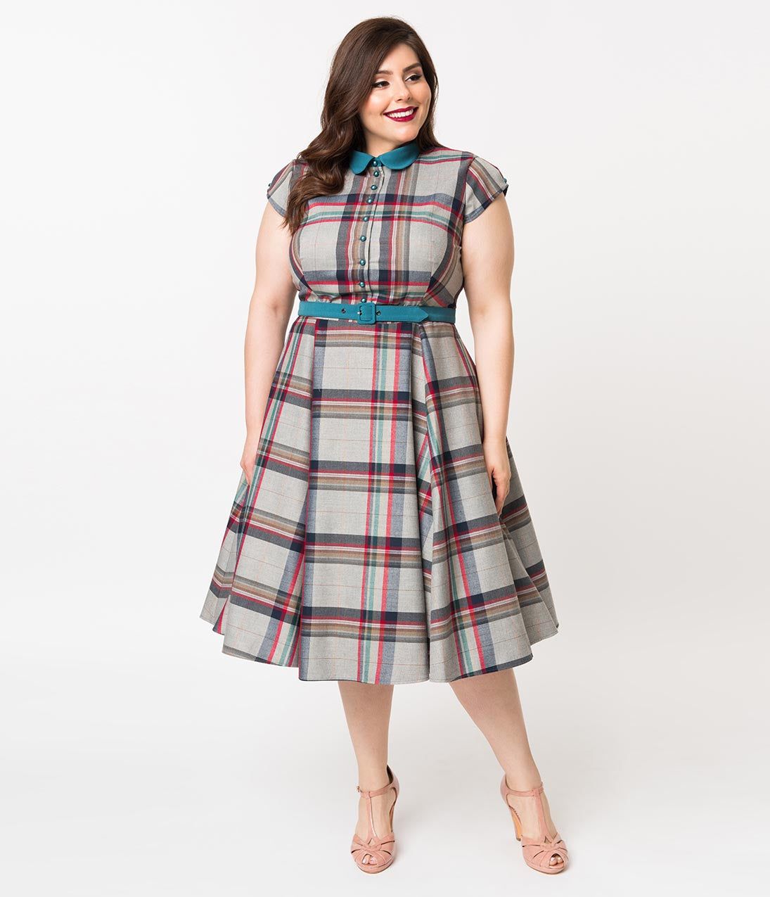 1950s Dresses, 50s Dresses | 1950s Style Dresses Miss Candy Floss Plus Size 1950S Style Grey Tartan Darla Preppy Swing Dress $138.00 AT vintagedancer.com