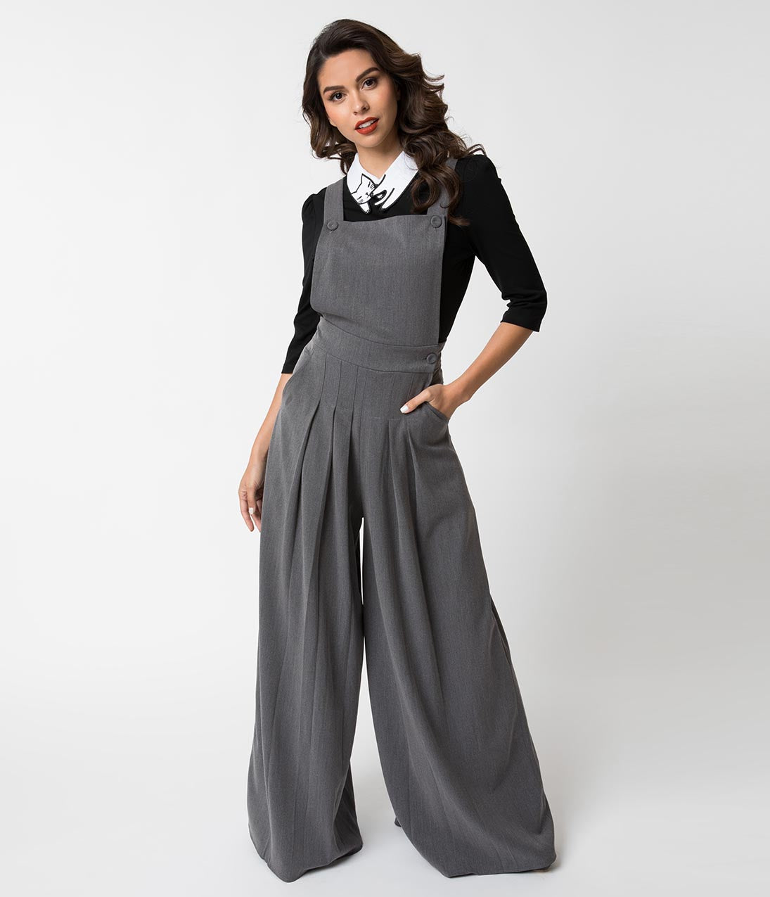 1940s Swing Pants & Sailor Trousers- Wide Leg, High Waist Miss Candy Floss 1940S Grey Tailored Wide Leg Nina Dungarees $74.00 AT vintagedancer.com