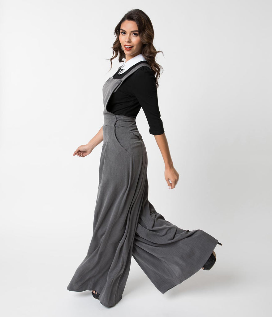 Miss Candy Floss 1940s Grey Tailored Wide Leg Nina Dungarees
