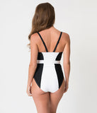 Unique Vintage Black & White Colorblock Beach Blanket One Piece Swimsuit