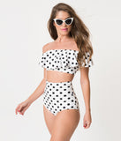 Unique Vintage White & Black Dot High Waist Louise Swim Bottoms