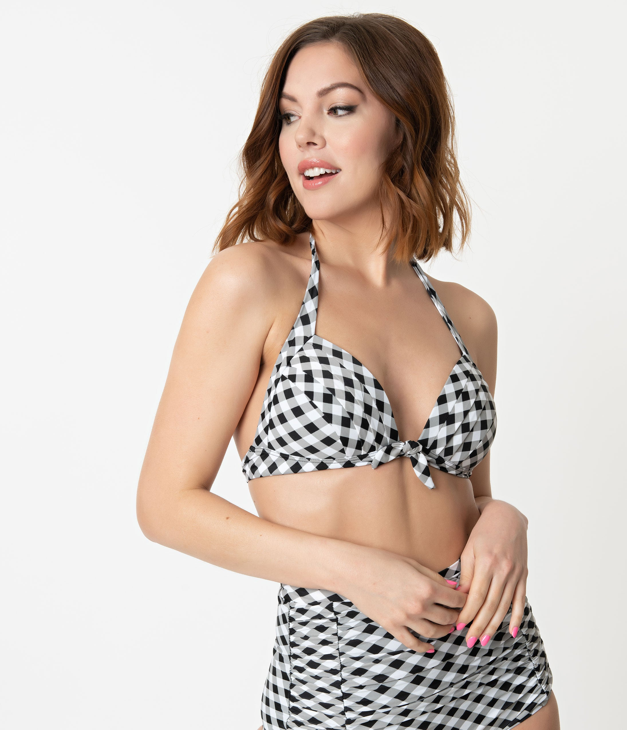1950s Swimsuits, 50s Bathing Suits, Retro Swimwear Unique Vintage Black  White Gingham Monroe Halter Swim Top $25.00 AT vintagedancer.com