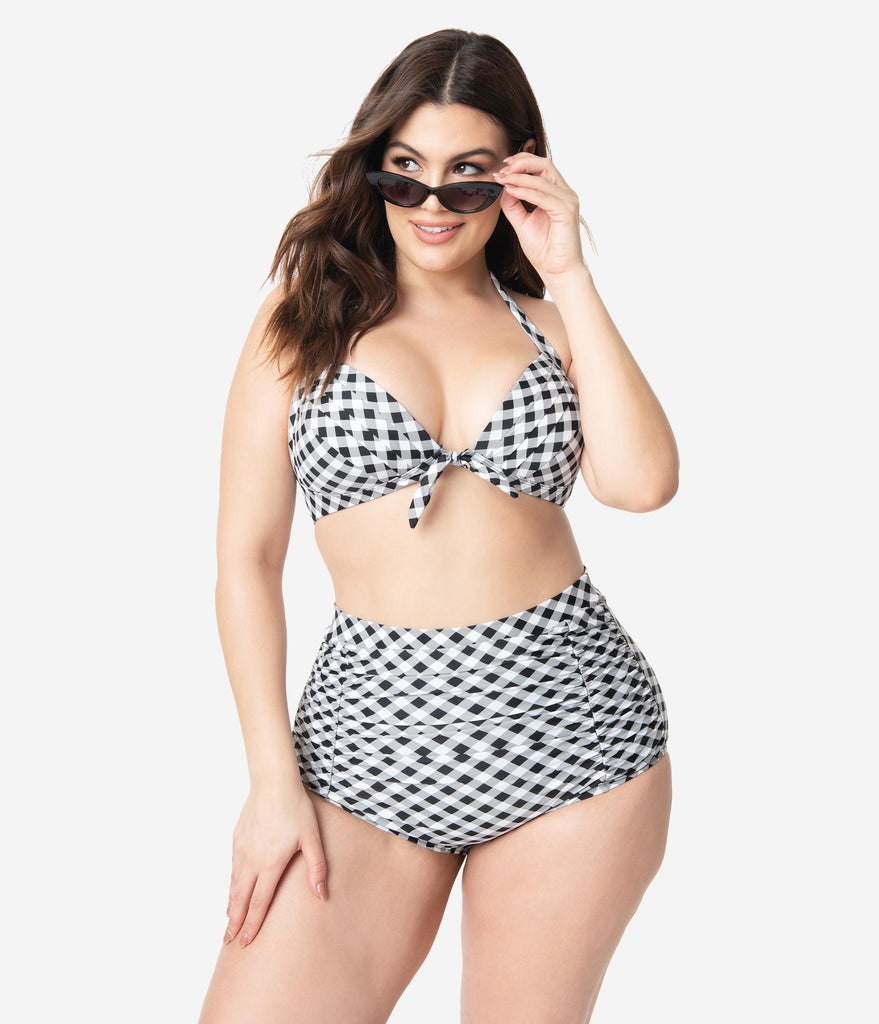 Unique Vintage Plus Size Black & White Gingham Monroe Halter Swim Top