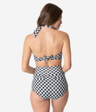 Unique Vintage 1950s Style Mrs. West Black & White Gingham Halter Swim Top
