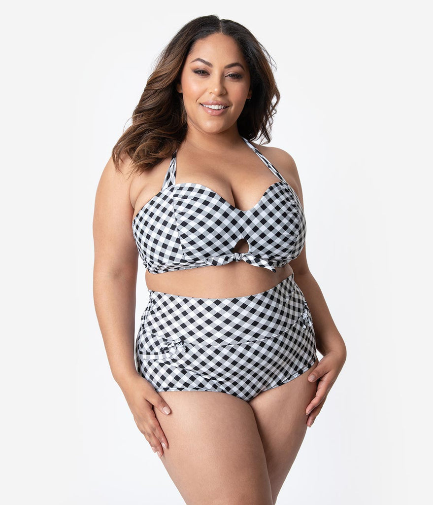 Unique Vintage Plus Size 1950s Style Mrs. West Black & White Gingham Halter Swim Top