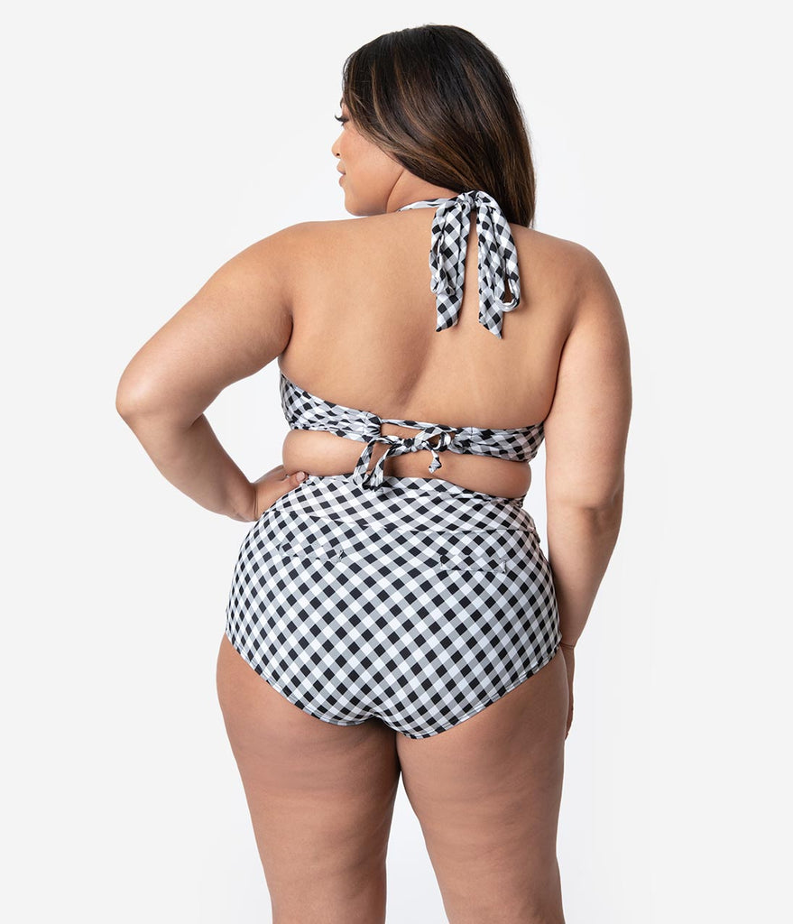 Unique Vintage Plus Size Black & White Gingham Gilda High Waist Swim Bottoms