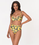 Unique Vintage Yellow Poppy Print Daphne Swim Bottoms